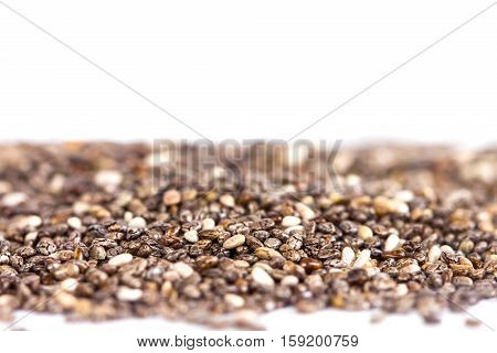 Close up chia seeds on white background