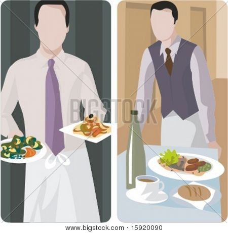 A set of 2 vector illustrations of waiters.