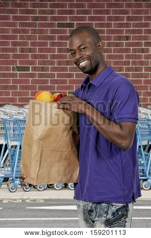 Black Man Grocery Shopping