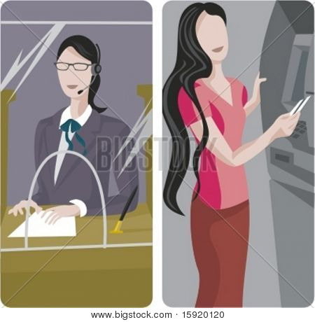 A set of 2 vector worker illustrations. 1) Bank worker. 2) Woman using an ATM machine.