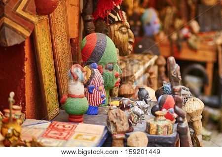 Selection Of Head Masks On A Traditional Moroccan Market