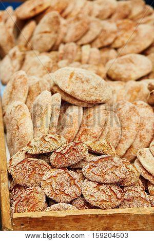 Bread On A Traditional Moroccan Market In Essaouira, Morocco