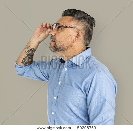 Mature Man Amazed Looking Glasses Concept