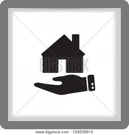 Flat icon. The house on a palm. Conceptual idea of selling real estate.