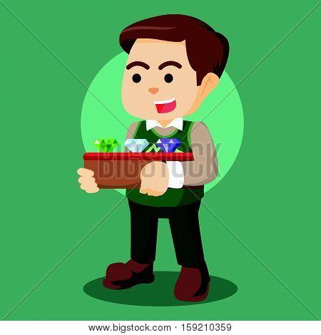 men jeweler holding a box of jewel