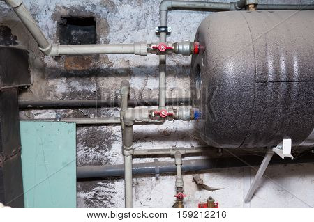 Hydraulic Pipes An Valves In Basement