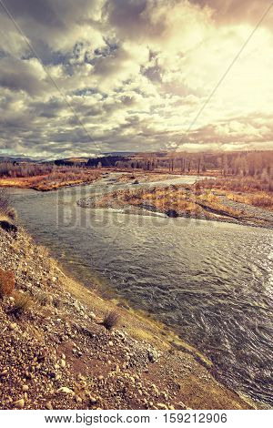 Vintage Toned Snake River In The Grand Teton National Park At Sunset.