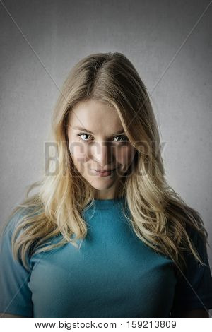 Girl showing a mischievous face