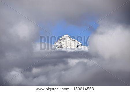 Grand Teton Peak In Cloud Frame, Wyoming, Usa