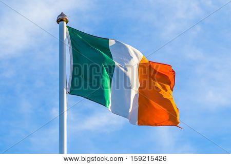 Irish Flag Waving In The Wind