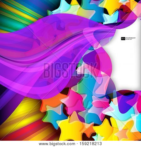 Vector abstract design background with color stars.