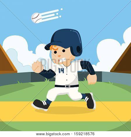 baseball player running to base illustration design
