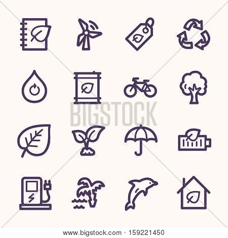Ecology web icons.  Green technology, environment protection and recycling symbol, vector signs