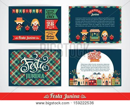 Latin American holiday, the June party of Brazil. Set of vector templates with symbolism of the holiday.