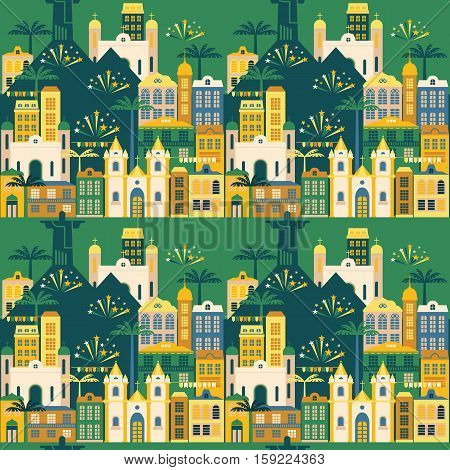 Latin American holiday, the June party of Brazil. Flat seamless pattern.