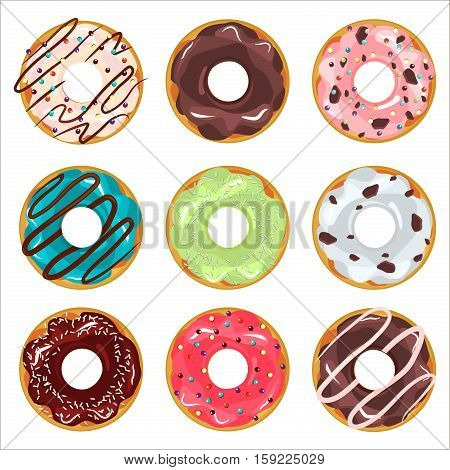 Collection of glazed colored donuts vector with icing sprinkles. Donut set with sprinkles isolated tasty cream doughnut. Pastry snack cake breakfast donut food bakery sugar chocolate delicious.
