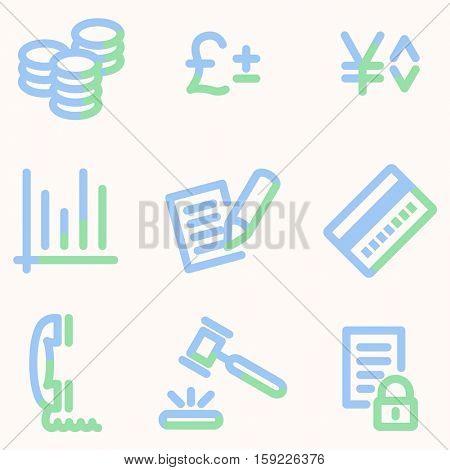 Business icons, light blue contour