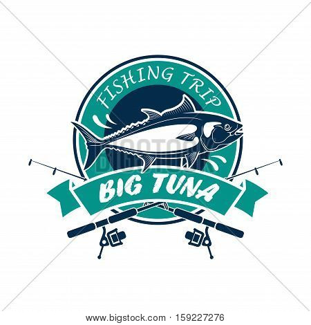 Fishing trip round icon. Big tuna vector sign with fishing rods, fish, ribbon. Fisherman adventure sport club circle badge