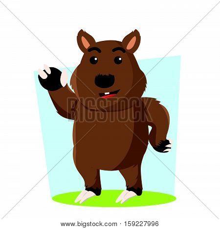wombat character cartoon eps10 vector illustration design