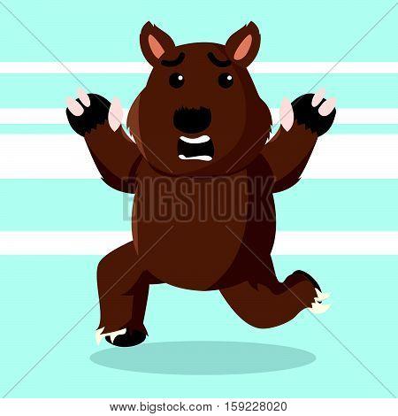 wombat running character eps10 vector illustration design