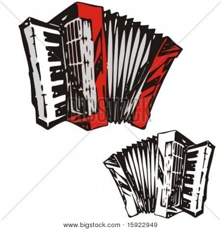 Music Instrument Series. Vector illustration of an accordeon.