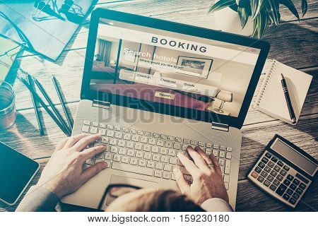 booking hotel travel traveler search business reservation holiday book research plan tourism concept - stock image
