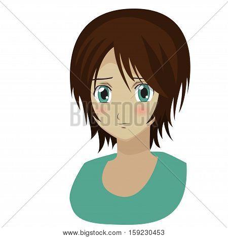 Cute cartoon anime shy girl. Vector illustration