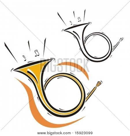 Music Instrument Series. Vector illustration of a french horn.