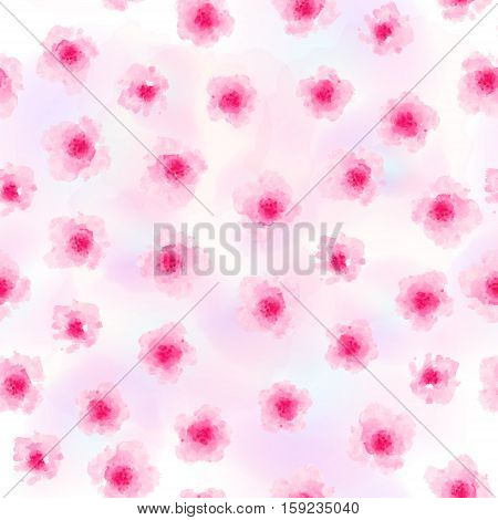 Seamless background pattern of delicate pink Sakura blossom or Japanese flowering cherry symbolic of Spring in a random arrangement on a white background. Watercolor imitation