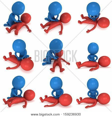3d Man doing CPR First Aid Set. 3d render illustration CPR training concept on white background. Red and blue men