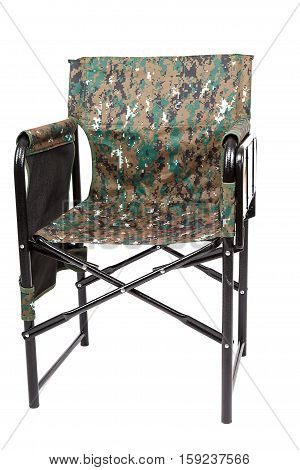 Tourist and fishing folding chair isolated on white background.