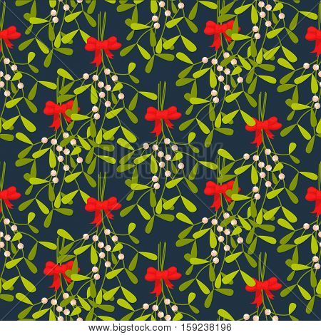 Mistletoe branches seamless vector pattern. Traditional plant tied with red bow. Green dense leaves on blue background.