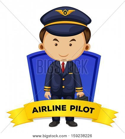 Occupation wordcard with airline pilot illustration