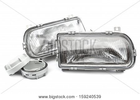 Car lights isolated on a white background.