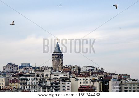 Galata Tower from icons of Istanbul. A fortress located in the Galata district of Istanbul. The structure was built in 528 years it is among the most important symbols of the city.
