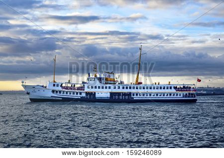 Istanbul Turkey - January 19 2013: Istanbul Ferries (called vapur in Turkish) continue to serve as a key public transport link for many Thousands of commuters tourists and vehicles per day.