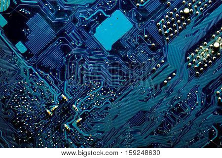 Blue digital circuits abstract background - motherboard