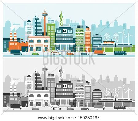 Smart city with contemporary buildings services people and traffic on the street