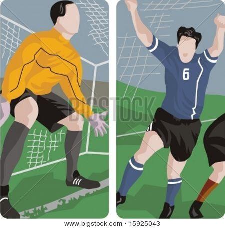 Sport-Illustrationen-Serie. Ein Satz von 2 Fußball-Abbildungen.
