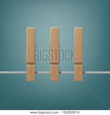 Vector Wooden Clothespins Pegs on Rope Side View Close up Isolated on Background