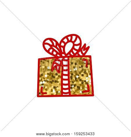 Gift box with ribbon, icon with golden texture. Hand drawn isolated clip-art, design element for gift shop or souvenir shop flyer, banner, coupon, greeting card and other print advertising