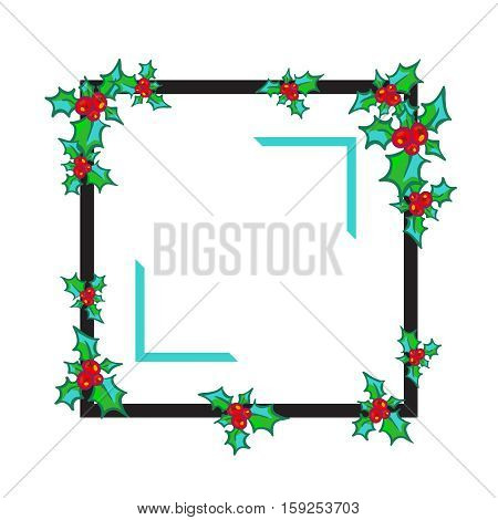 Sprig of Holly on black frame, isolated on white background. hand drawn design element for greeting card, poster, flyer, ads. Holly with berry. Christmas and New Year bright clip-art