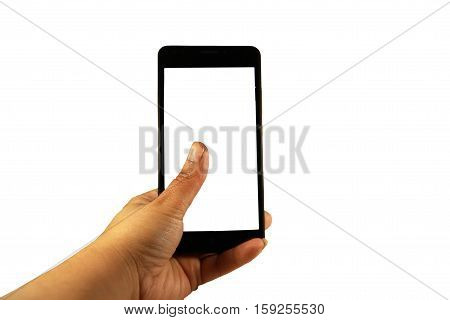 Female hand holding black modern smart phone with blank screen. Isolated on white background