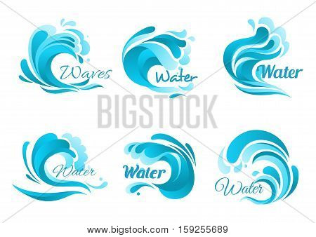 Waves vector isolated icons. Ocean water wave blue symbols in form of splashes, tide water rollers, stormy curling sea waves, foamy stormy curls, wavy flows with surfing gales