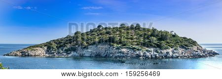 Panoramic view of the island Es Pantaleu in front of Sant Elm on Mallorca Spain.