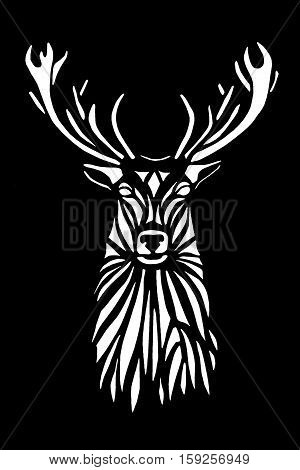 White silhouette face of deer on black background. Stencil.