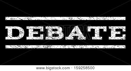 Debate watermark stamp. Text tag between horizontal parallel lines with grunge design style. Rubber seal white stamp with dust texture. Vector ink imprint on a black background.
