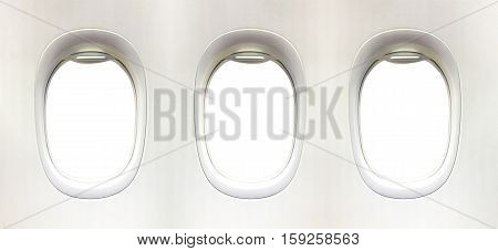 Airplane Window And Space For Your Design, 3 Plane Window, Clipping Path