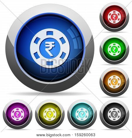 Indian Rupee casino chip icons in round glossy buttons with steel frames