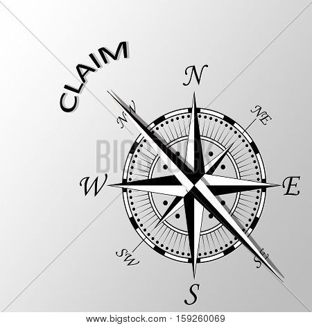 Illustration of claim written aside a compass